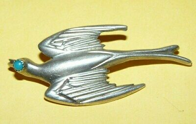 "~Vintage~Sterling~Silver~&~Turquoise~Ornate~Sparrow~""Bird""~Design~Pin~Brooch~"