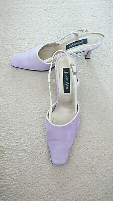 Lovely Jacques Vert Pale Lilac And Cream Slingback Shoes Size 6
