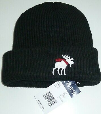 Chaps Beanie Hat Touque Men's Black  Winter With Moose In Scarf Embriodery