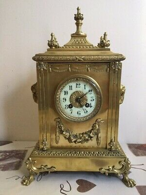 Antique brass French 8 day mantle clock