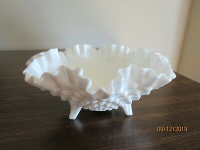 Vintage Fenton White Milk Glass Hobnail 3-Footed Bowl, Double Crimped