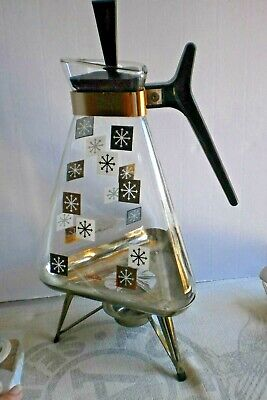 60s Vintage MCM Inland Glass Triangle Coffee Carafe Pot Gold Warming Stand