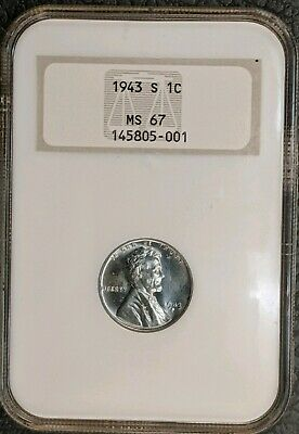 1943-S Lincoln Steel Cent NGC MS67. FREE SHIPPING