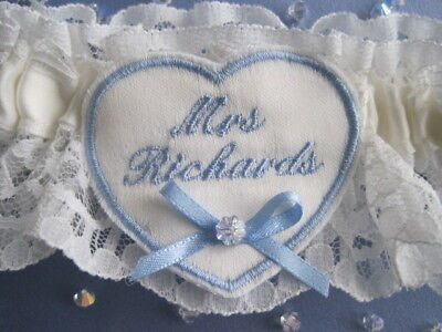 Lucky Sixpence Personalised Wedding Day Bridal Garter Heart Detail + Crystal