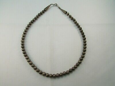 "Antique Vintage Sterling Silver 8 MM Navajo Pearls Beaded 21"" Necklace Southwest"