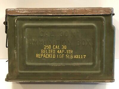 Vintage Wwii U.s. Army Military 250 Cal .30 M1 Canco Flaming Bomb Ammunition Box