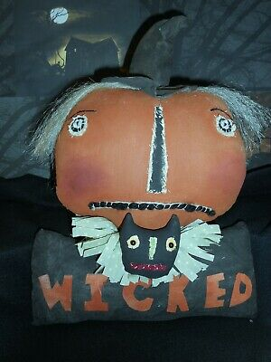 Primitive doll,folk art,Halloween pumpkin,17 in. door hanger, Dumplinragamuffin