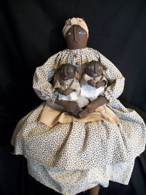 PATTERN ONLY, Primitive black doll,31 in. Mammy and twins, Dumplinragamuffin