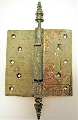 "Antique Gorgeous Vtg Victorian Eastlake Ornate 5"" Solid Brass Entry Door Hinge"