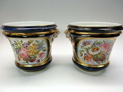 Superb pair Paris porcelain cobalt hand painted Botanical cache pots planters