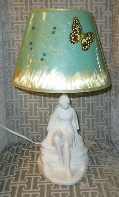 ☆ VAN BRIGGLE Art Pottery Lamp - DAYDREAMER Indian Maiden w/ Butterfly Shade