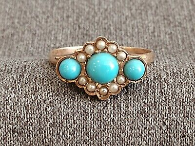 Antique Victorian 14k Yellow Gold French Turquoise Seed Pearl Ring c1900 Size 6