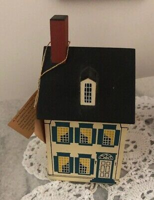 Vintage Windfield Designs Wooden House Bank signed H Musser 1986 Glens Falls,NY