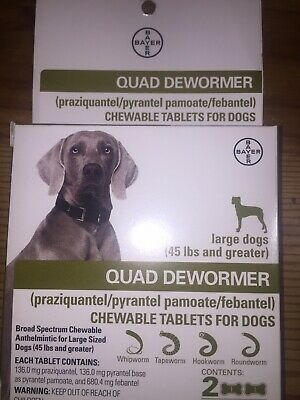 BAYER QUAD DEWORMER for Large (L) Dogs 45 lbs & Over (2 Chewable Tablets) - NEW!