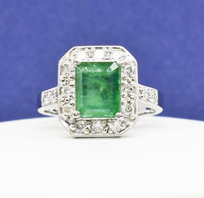 $1,999 SOLID 14k White Gold 1.70ctw Colombian Emerald & G-SI Diamond Ring 5g