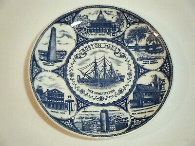 "Boston Massachusetts Uss Constitution Souvenir Plate, 8"", Nanco, Vintage"