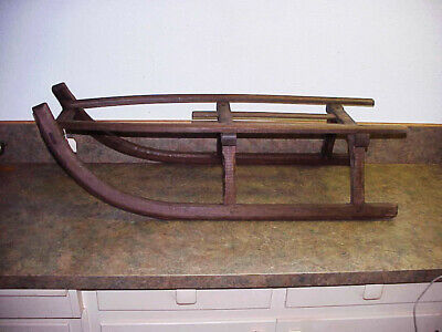 Antique Wooden Mortise Tenon Snow Sled Sleigh Ice Coaster Metal Runners Rustic