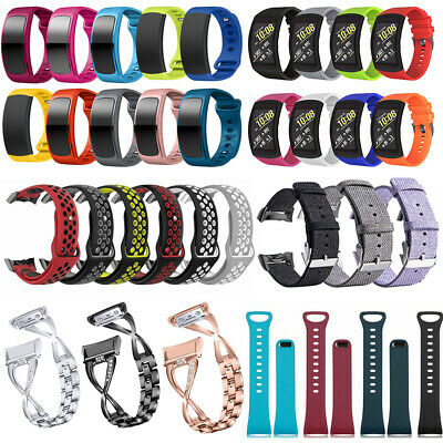 Stainless Steel Silicone Band Strap For Samsung Gear Fit 2 Pro SM-R365 SM-R360
