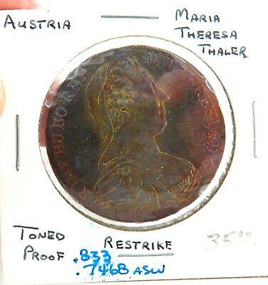 .Superbly Toned Unc 1780 Maria Theresa Silver Thaler Restrike.