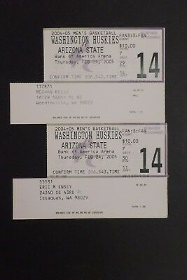 Washington Huskies Arizona State Sun Devils 2005 College Basketball Ticket Stubs