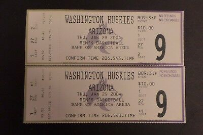 Washington Huskies Arizona Wildcats College Basketball Ticket Stubs