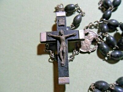 Antique Rosary Black Prayer Beads Wood Cross Crucifix Italy