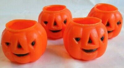 "4 Vintage Little Wax Halloween Jack O Lantern Candy Containers 1 5/8"" high"