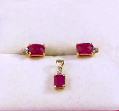 Vintage 14K Yellow GOLD & Red Stone Earrings & Pendant Set