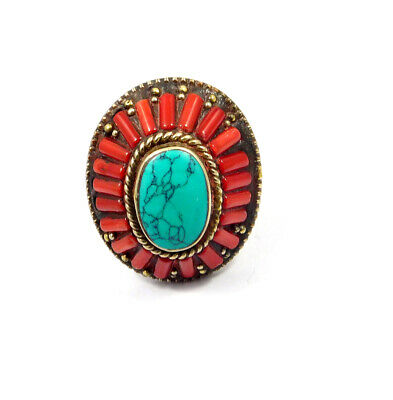 Turquoise & Coral .925 Silver Plated Handmade Ring Size-7 Jewelry JC10259