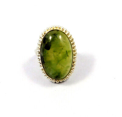 Prehnite Rutile .925 Silver Plated Handmade Ring Size-11 Jewelry JC9094