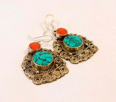 Turquoise & Coral .925 Silver Plated Handmade Earring Jewelry JC6620