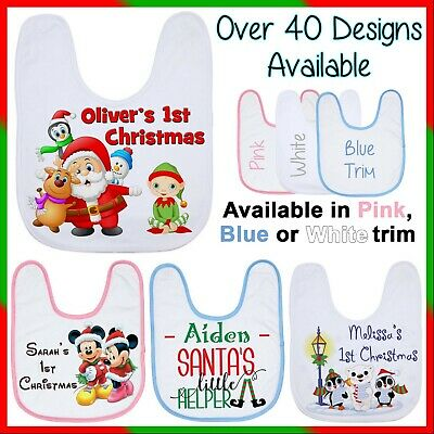 """Personalised """"Baby's First Christmas"""" Baby Bib Customised Name Gift, Colour Trim"""