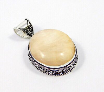 Scolecite .925 Silver Plated Carving Pendant Jewelry JC7443