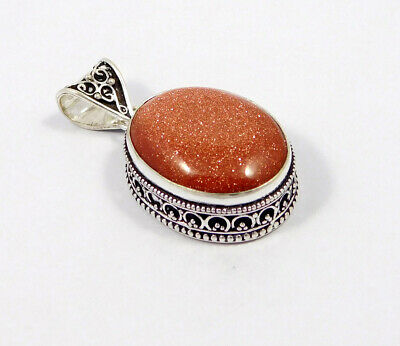 Sandstone .925 Silver Plated Carving Pendant Jewelry JC7466