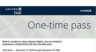 TWO United Airlines UA Club One-Time Pass- Quick E-Delivery- Exp 09/19/2020