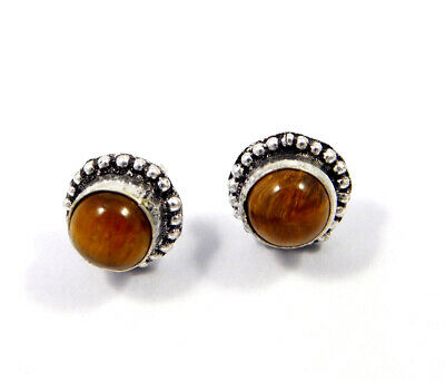 Tiger's Eye .925 Silver Plated Handmade Stud Earring Jewelry JC8221