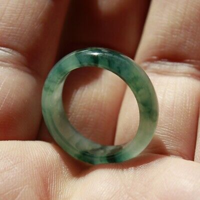 Size 9 1/4 CERTIFIED Natural Jade Grade A Untreated Icy Green Jadeite Ring #R308