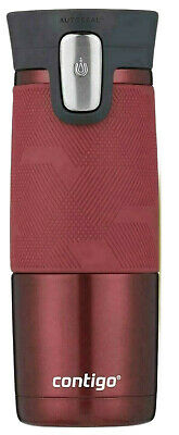 1 Red Steel CONTIGO Mug Autoseal Spill Proof Stainless Thermal Travel 473ml