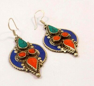 Turquoise , Lapis & Coral .925 Silver Plated Handmade Earring Jewelry JC6609