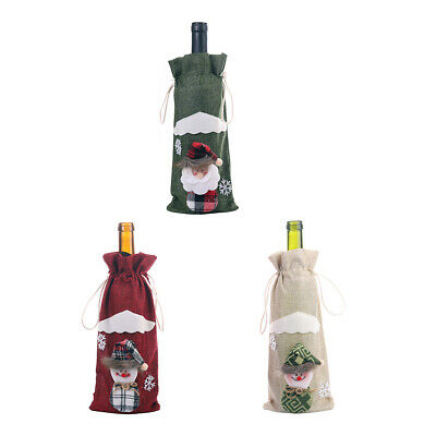 Wine Bottle Bags Covers Santa Claus Snowman For Home Bar Christmas Party Decor