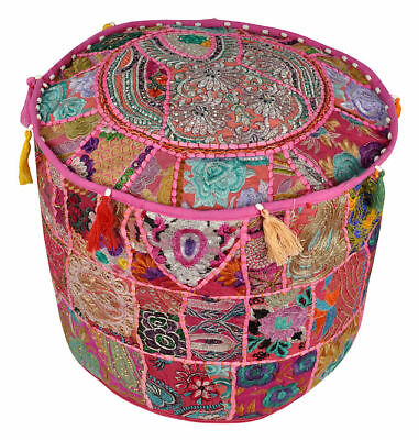 Indian Vintage Fabric Patchwork Ottoman Foot Stool Bean Bag Pouf Cover Boho Deco