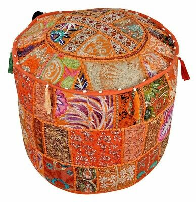 Indian Vintage Fabric Patchwork Ottoman Foot Stool Bean Bag Pouf Cover Fast Ship