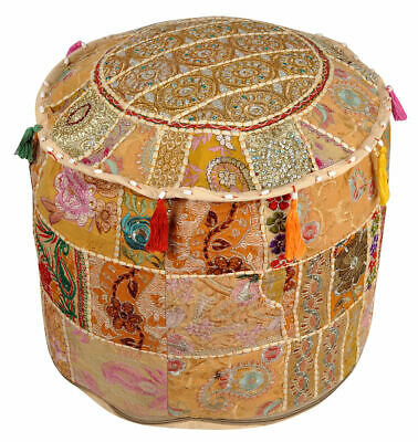 Indian Patchwork Vintage Fabric Ottoman Foot Stool Bean Bag Pouf Cover Boho