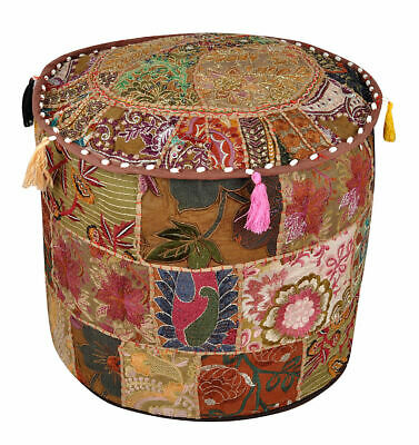 Vintage Fabric Patchwork Ottoman Foot Stool Bean Bag Pouf Cover Boho Indian Deco