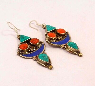 Turquoise , Lapis & Coral .925 Silver Plated Handmade Earring Jewelry JC6541