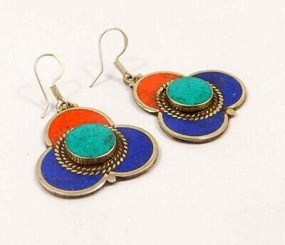 Turquoise , Lapis & Coral .925 Silver Plated Handmade Earring Jewelry JC6566