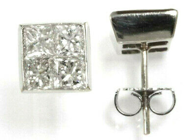 2.25 ctw Natural Real VS Diamond Solid 14k White Gold Square Stud Earrings 8 MM