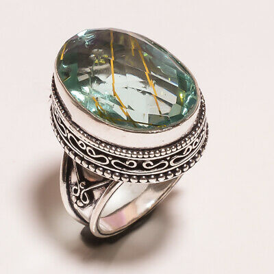 Golden Needle Rutile .925 Silver Plated Carving Ring Size-7 Jewelry JA621