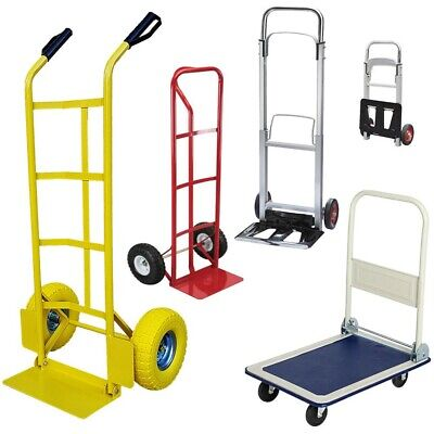 Hand Truck Heavy Duty Sack Industrial Trolley Pneumatic Tyres Wheels Torlleys UK