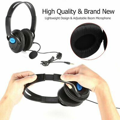 Deluxe Black Headset Headphone With Mic Volume Control For Ps4 Xbox One Gamers